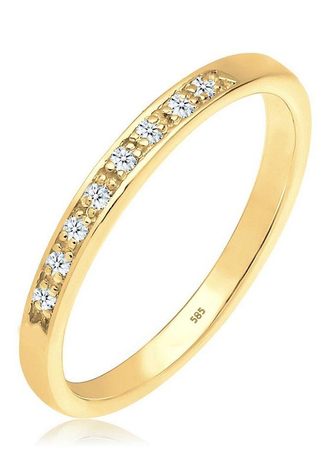 DIAMORE Ring »Bandring Verlobungsring Diamant 585 Gelbgold« in Weiß