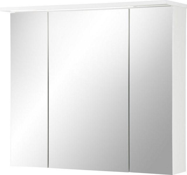 Spiegel - Schildmeyer Spiegelschrank »Profil 16« Breite 80 cm, 3 türig, eingelassene LED Beleuchtung, Schalter Steckdosenbox, Glaseinlegeböden, Made in Germany  - Onlineshop OTTO