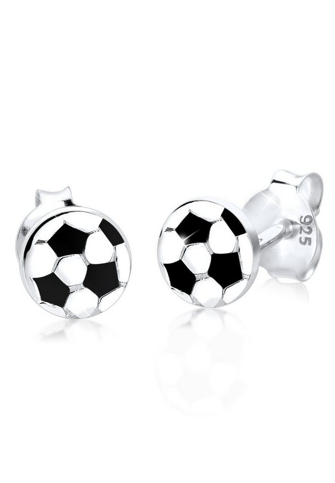 Elli Ohrringe »Fußball Silber« in Schwarz