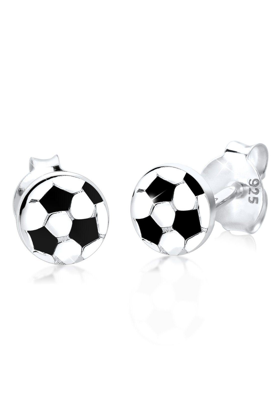 Elli Ohrringe »Fußball WM Emaille EM Sport Meisterschaft Silber«