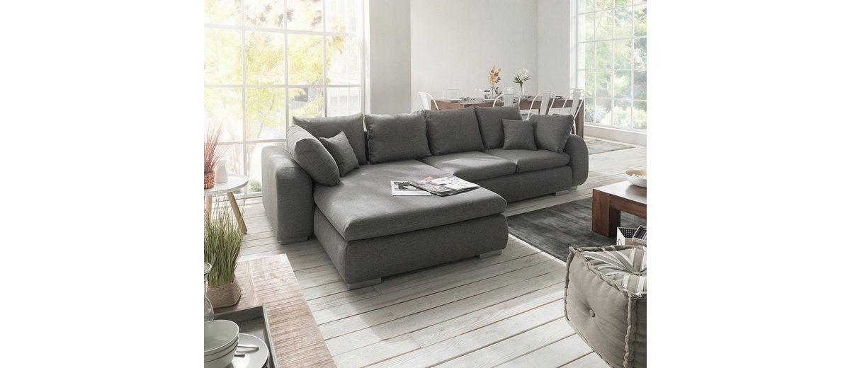 DELIFE Couch Maxie Grau 330x178 cm Schlaffunktion Ottomane Links