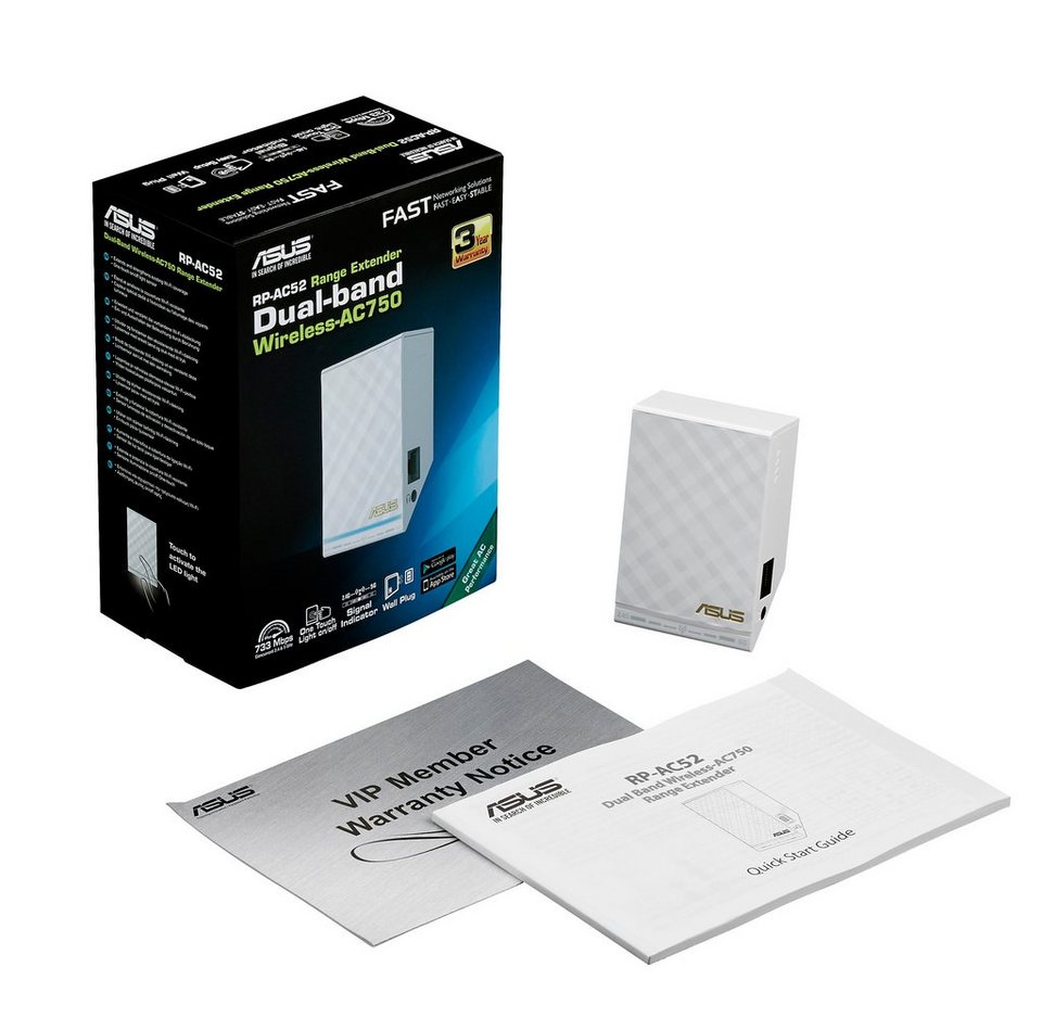 ASUS RP-AC52 AC750 White Diamond WLAN Repeater