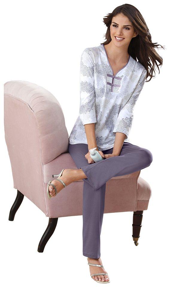 Schlafanzug, Ascafa in mauve-bedruckt