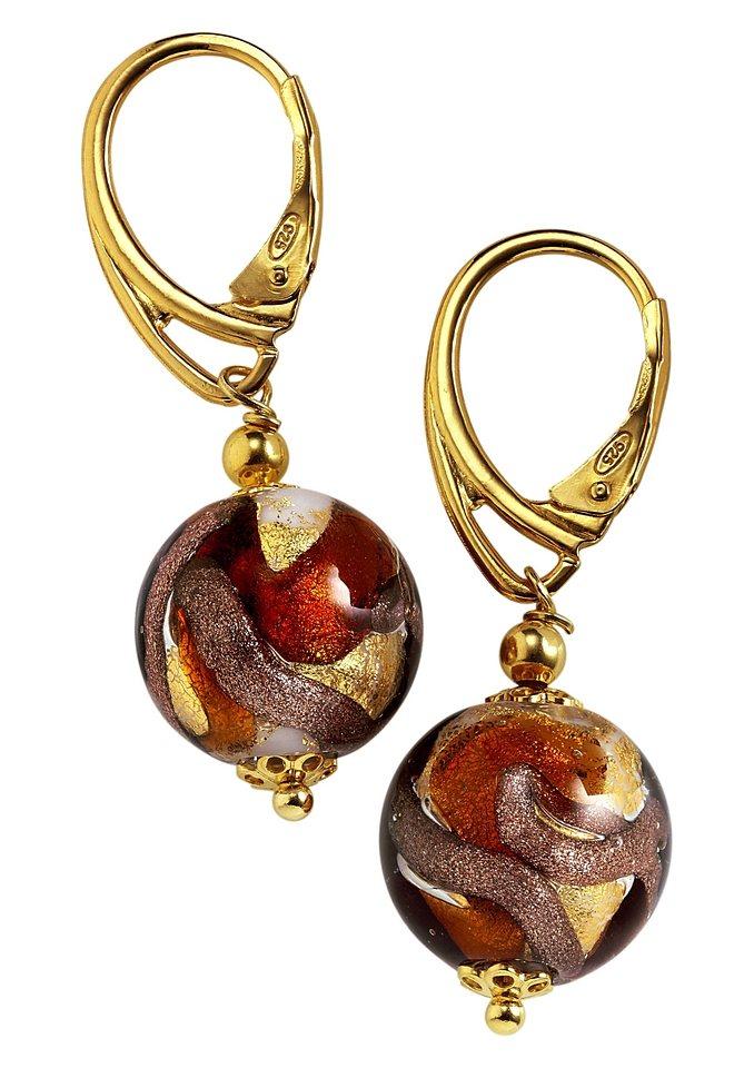 Paar Ohrhänger mit handgefertigtem Murano-Glas in goldfarben