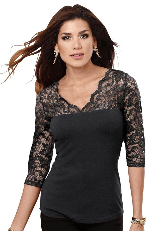 Lady Shirt mit Spitze in schwarz