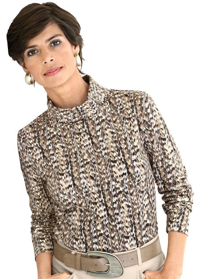 Collection L. Rollkragen-Shirt im tollen Druck-Dessin in taupe-grau-gemustert