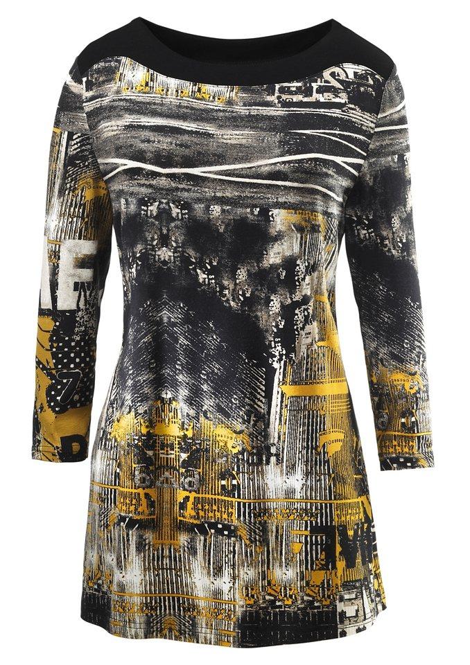 Ambria Longshirt mit 3/4-Ärmeln in schwarz-gelb
