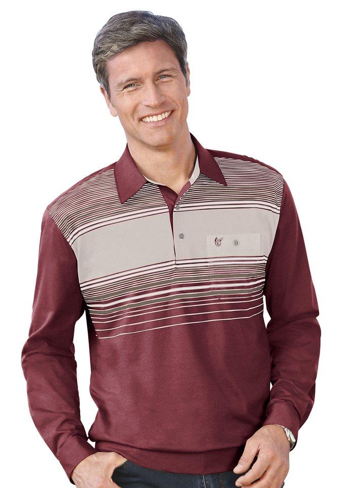 Hajo Poloshirt mit Knopfleiste in dunkelrot