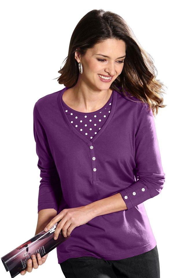 Classic Basics Shirt mit Einsatz im Tupfendessin in violett