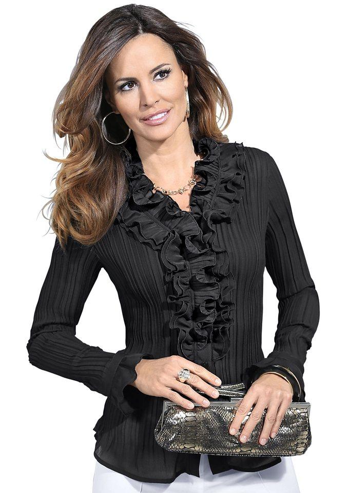 Lady Bluse mit Rüschen am Kragen in schwarz