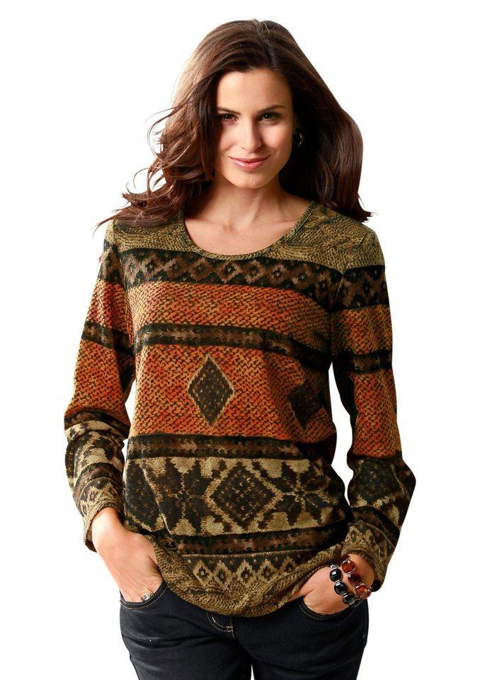 Classic Basic Pullover mit Rundhals-Ausschnitt in braun-orange