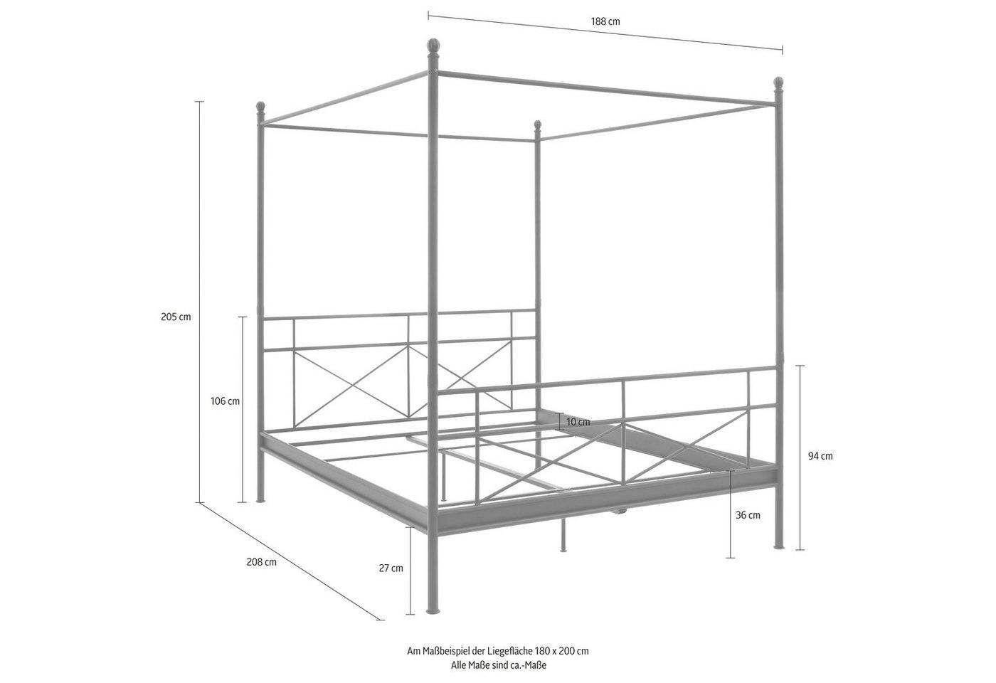 15 sparen metall himmelbett thora von home affaire nur 169 99 cherry m bel otto. Black Bedroom Furniture Sets. Home Design Ideas
