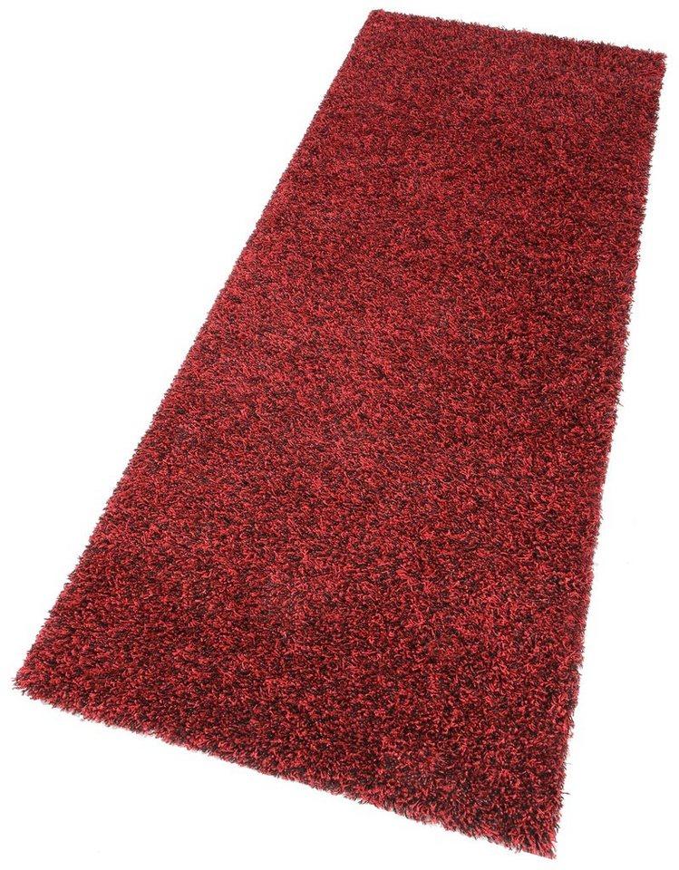 Hochflor-Läufer, my home, »Finn«, Melange-Effekt, Höhe 45 mm, gewebt in rot/schwarz