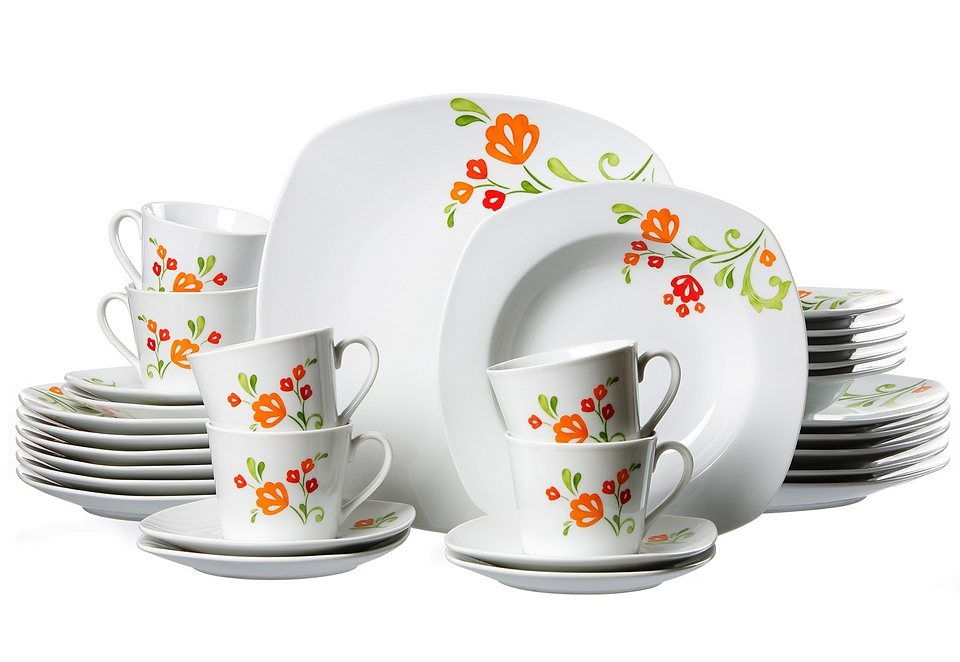 Kombiservice, »Fanny«, Flirt by R&B in Weiß, mit buntem Blumendekor