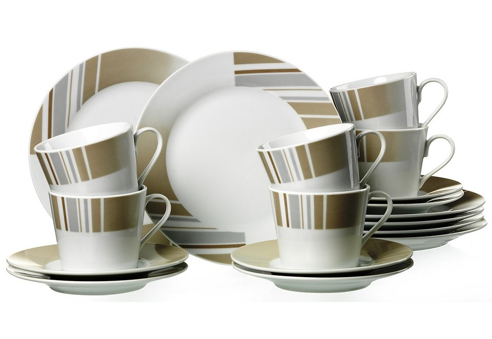 Kaffeeservice, »Belmondo«, Flirt by R&B in Weiß, mit Bänderdekor in Braun- und Grautönen