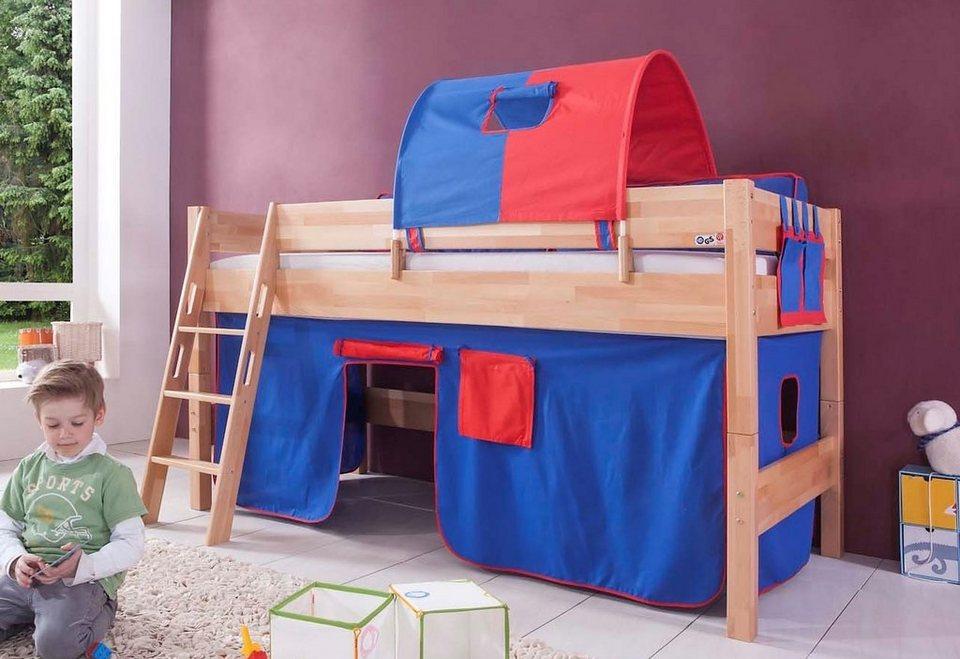 Relita Einzel-/Halbhohes Bett, Set 3-tlg. >>Kim<< in blau/rot