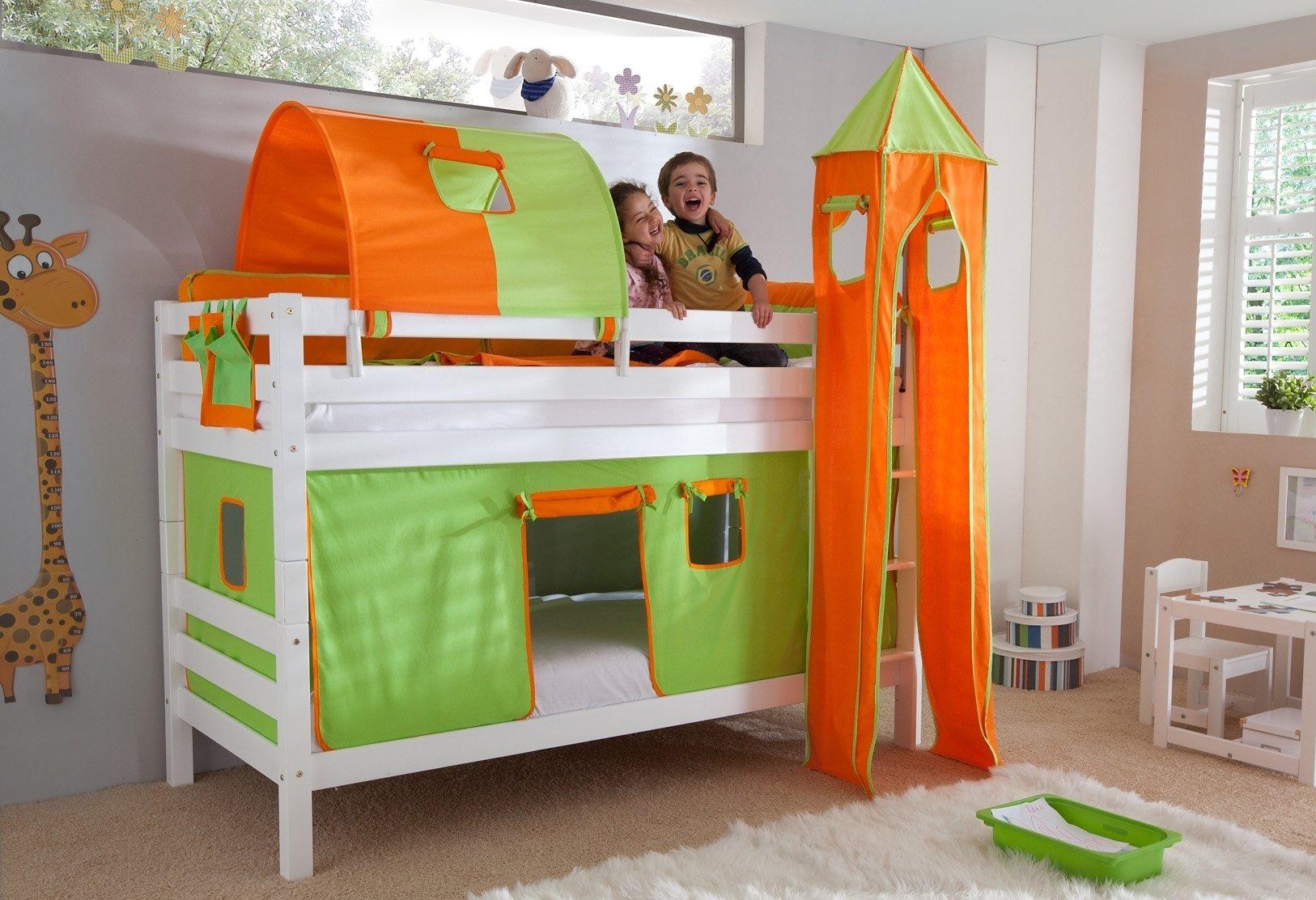 Relita Einzel-/Etagenbett, Set 4-tlg. | Kinderzimmer > Kinderbetten > Etagenbetten | Weiß | Massiver | Relita