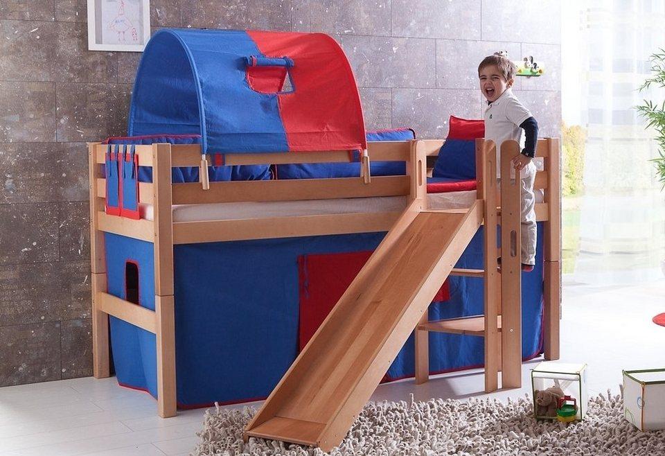 Relita Einzel-/Halbhohes Bett, Set 3-tlg. >>Eliyas<< in blau/rot