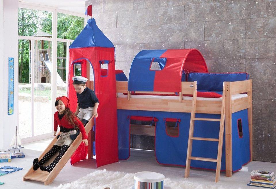Relita Einzel-/Halbhohes Bett, Set 4-tlg. >>Kim<< in rot/blau