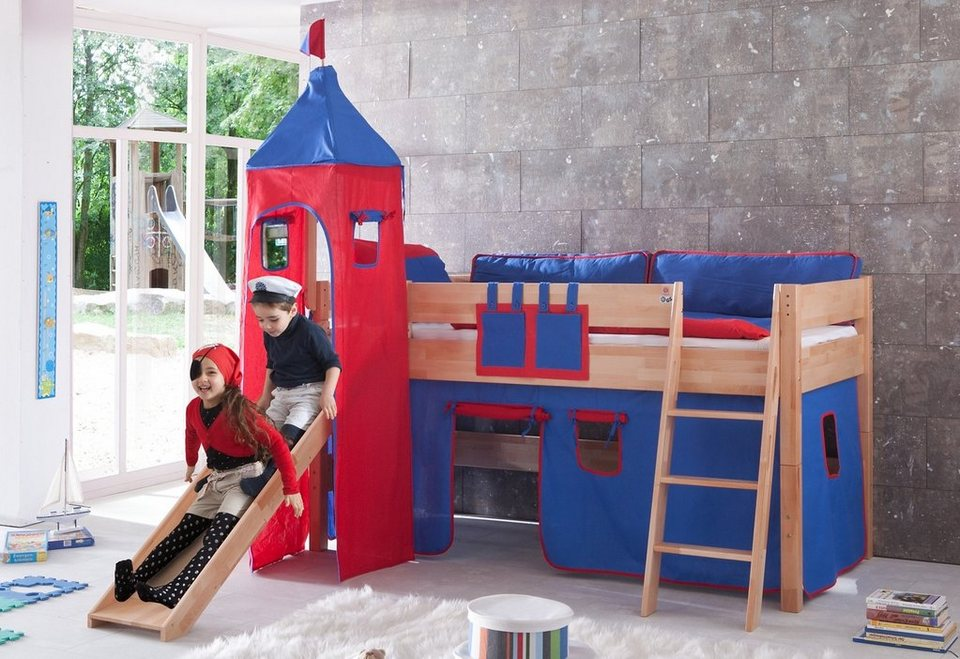 Relita Einzel-/Halbhohes Bett, Set 3-tlg. >>Kim<< in rot/blau