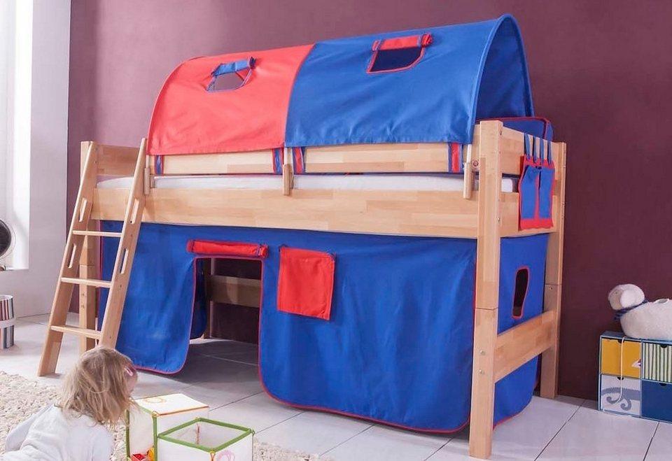 Relita Einzel-/Halbhohes Bett, Set 4-tlg. >>Kim<< in blau/rot