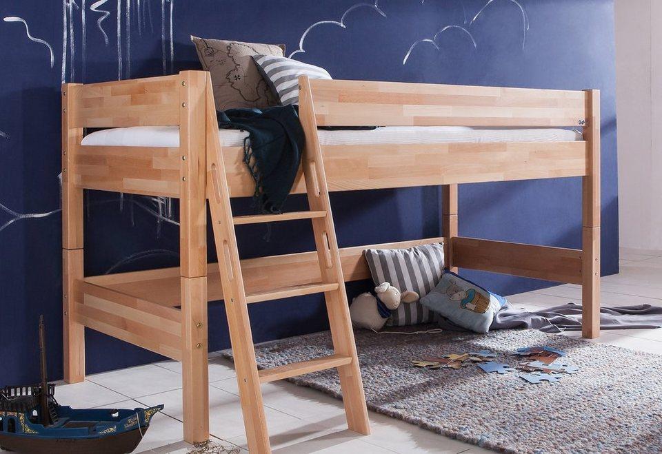 Relita Einzel-/Halbhohes Bett >>Kinay<< in Buche natur lackiert