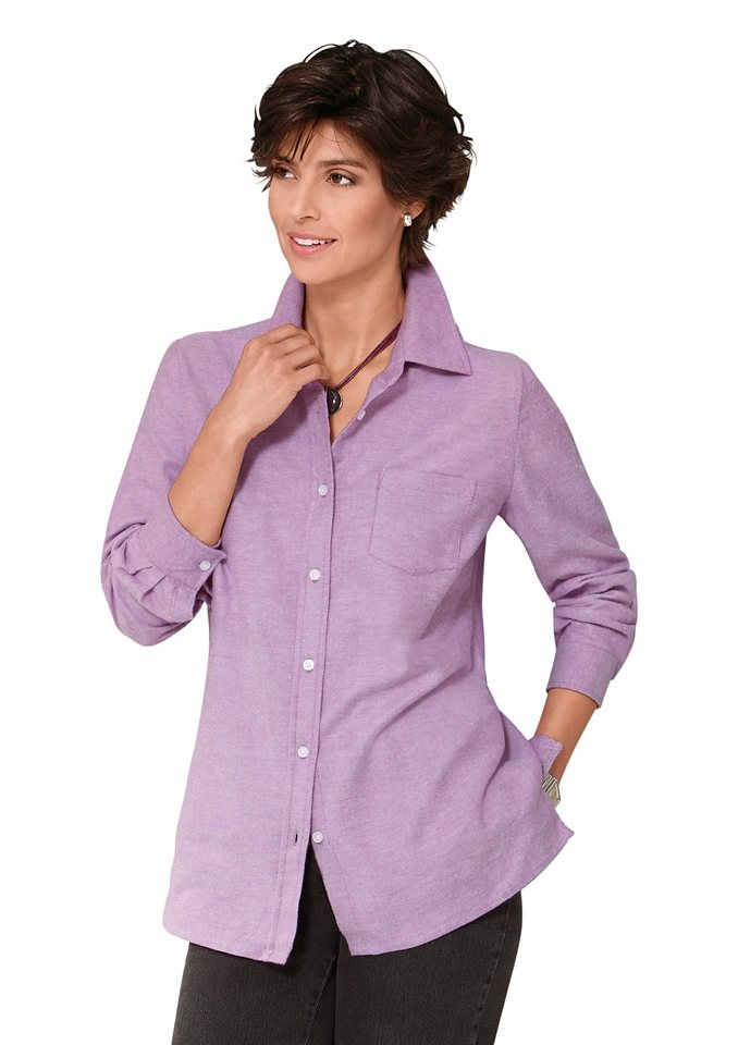 Classic Basics Bluse in weich angerauter Flanell-Qualität in orchidee-meliert