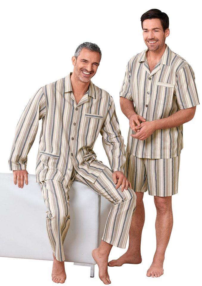 Schlafanzug, Kings Club in braun-beige-gestreift