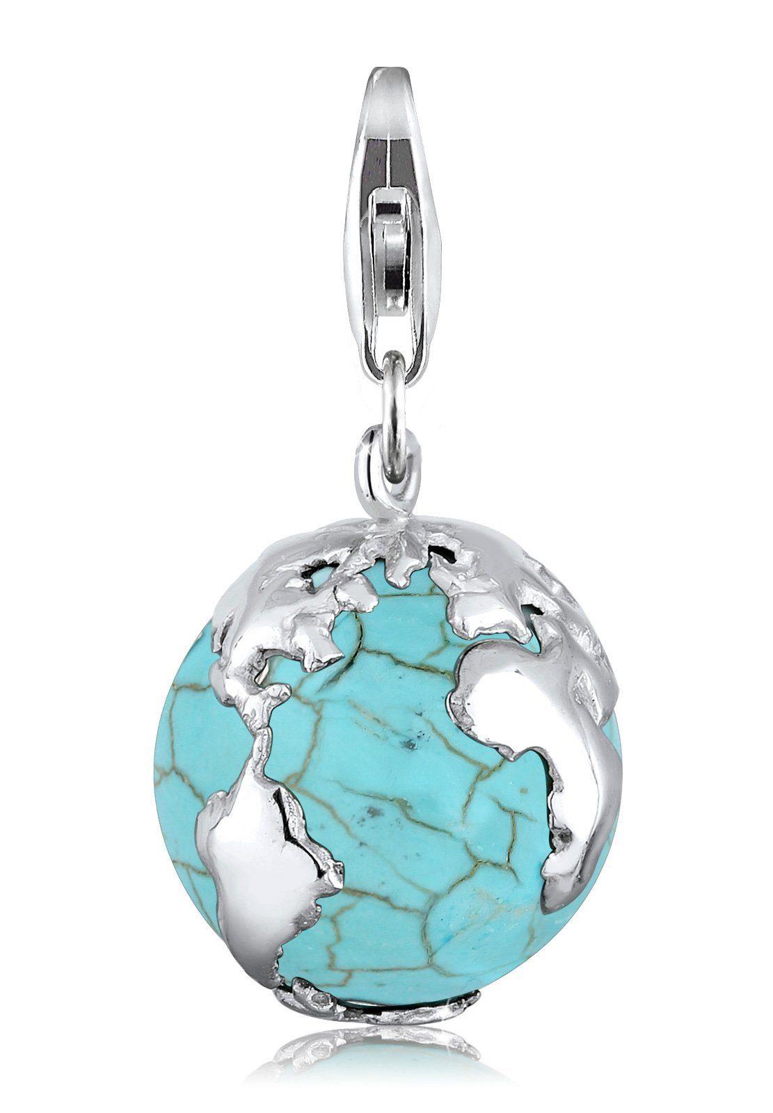 Elli Charm »Erdball Globus Howlith Türkis 925 Silber«