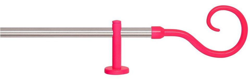 Gardinenstange 1-läufig nach Maß ø 20 mm, Indeko, »Swing Edelstahl« in edelstahlfarben, neon-pink