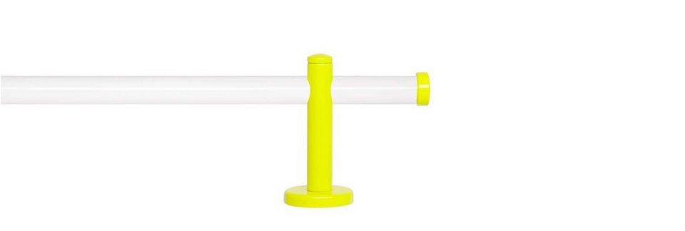 Gardinenstange 1-läufig nach Maß ø 20 mm, Indeko, »Sunny Weiß« in weiss, neon-gelb