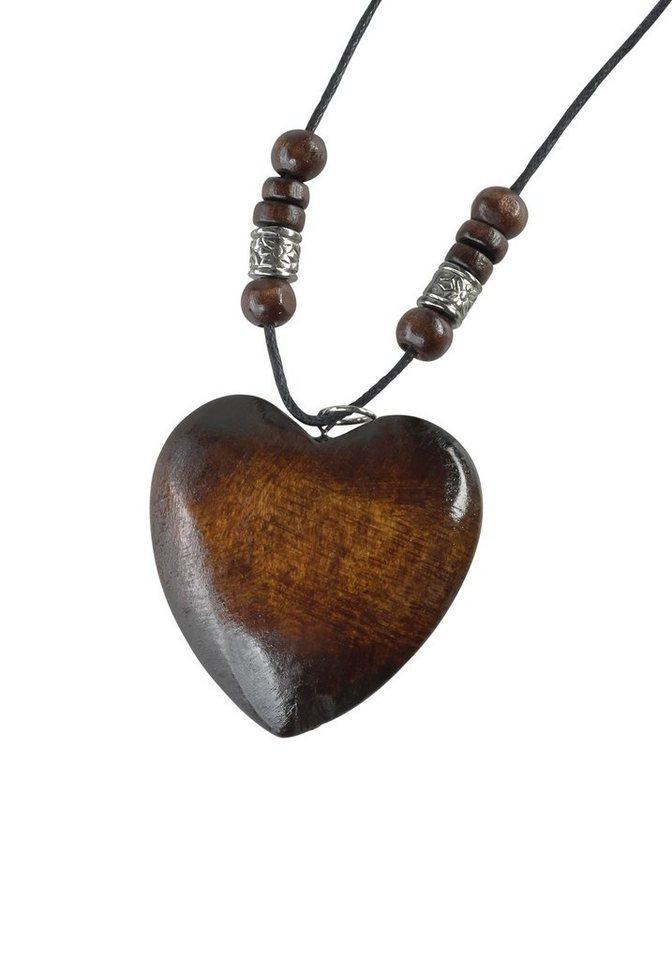 J. Jayz Kette mit Anhänger mit Herzanhäger aus Holz in braun