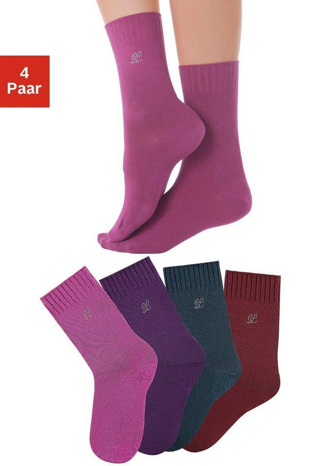 LASCANA Socken (4 Paar) mit extrabreitem Rippbündchen in 4x Farben