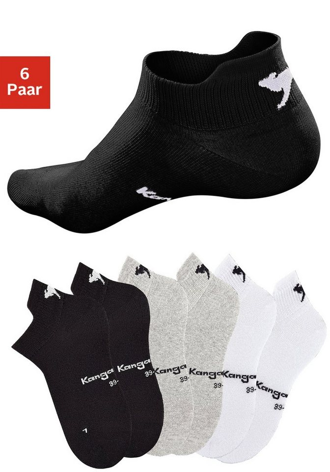 KangaROOS Sneakersocken (6 Paar) mit erhöhter Ferse in 2x schwarz + 2x grau meliert + 2x weiß