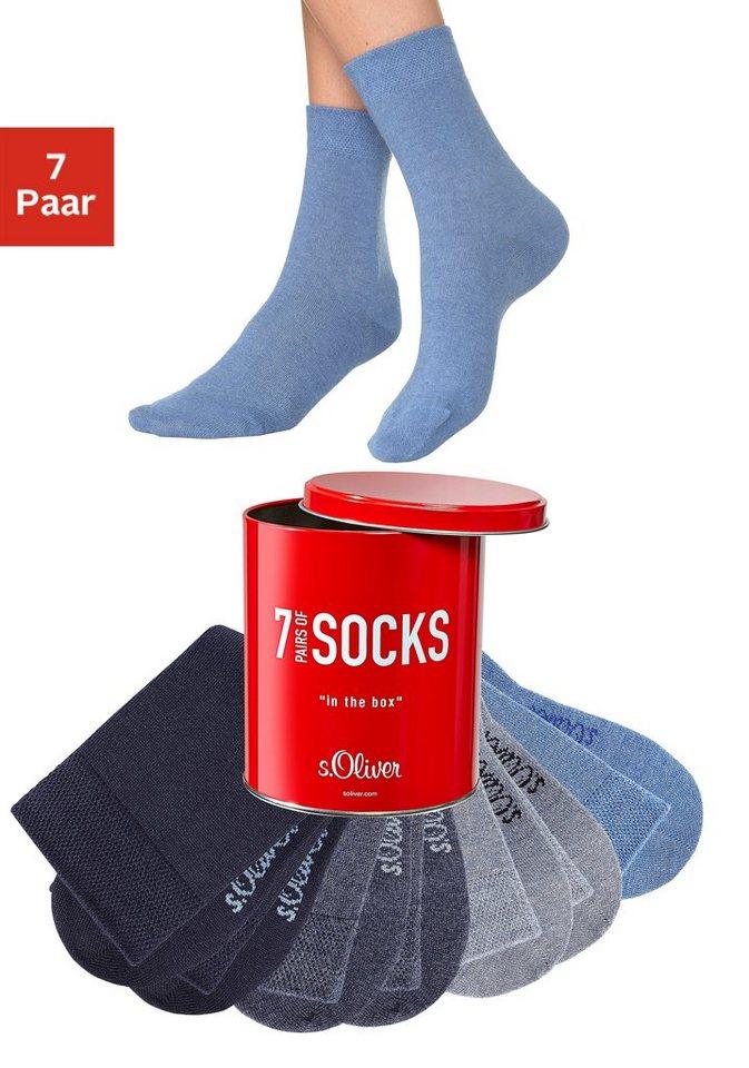 s.Oliver Freizeit- und Businesssocken (7 Paar) in der Box in 7x jeans