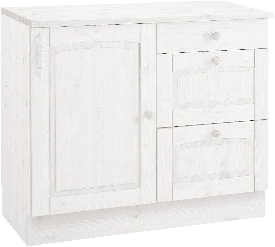 Unterschrank »Sylt«, mit 1 Tür, 1 Schubkasten und 2 Auszügen in weiß