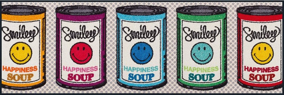 Läufer »Smiley Happiness Soup«, wash+dry by Kleen-Tex, rechteckig, Höhe 7 mm in bunt