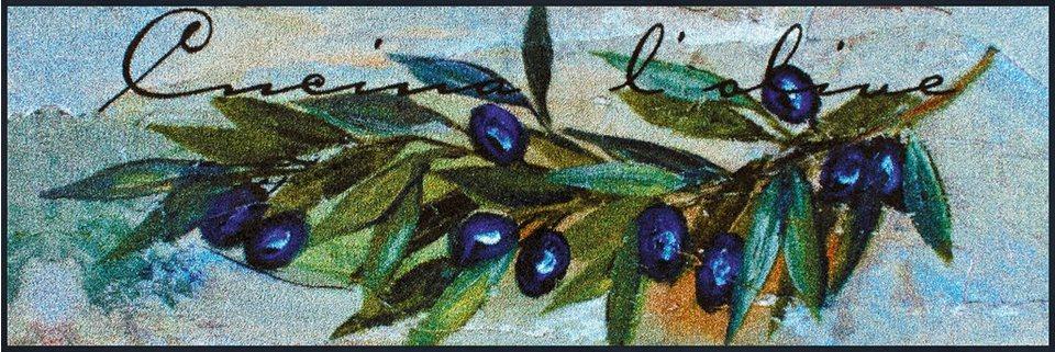 Läufer »Cucina L'Olive«, wash+dry by Kleen-Tex, rechteckig, Höhe 7 mm in grün-blau