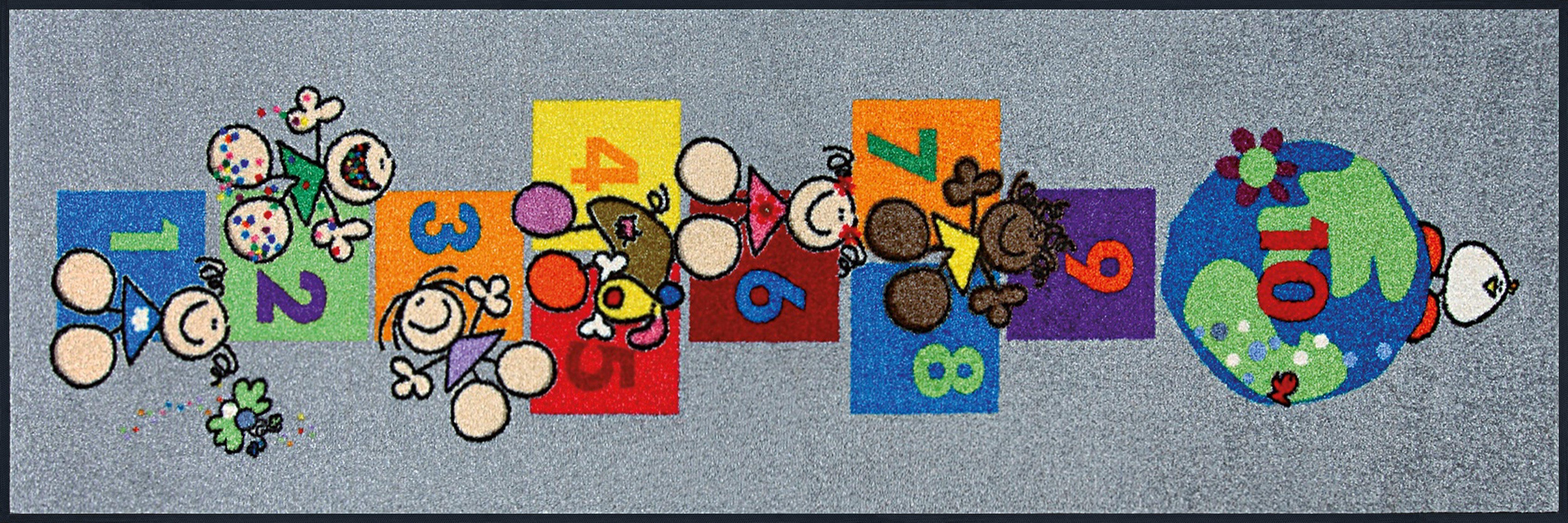 Läufer »Fulanitos Number of Friends«, wash+dry by Kleen-Tex, rechteckig, Höhe 7 mm