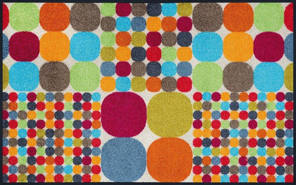 Läufer »Mikado Big Dots«, wash+dry by Kleen-Tex, rechteckig, Höhe 7 mm in bunt