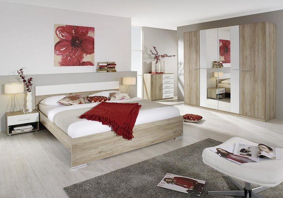 rauch Schlafzimmer-Set (4-tlg.) in eichefarben San Remo/weiß