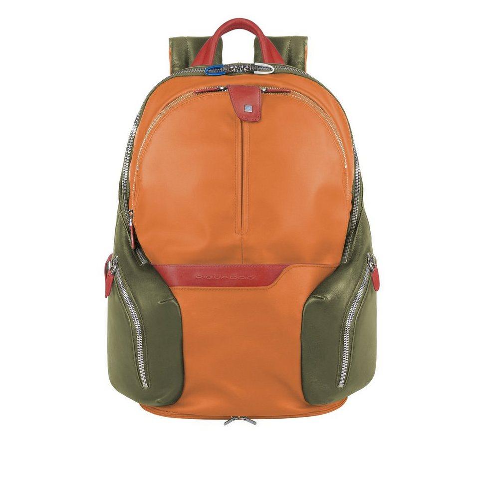 Piquadro Coleos Rucksack Leder 42,5 cm Laptopfach in orange