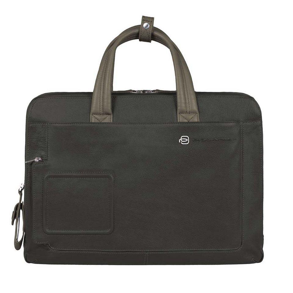 Piquadro Vibe Messenger Umhängetasche Leder 40 cm Laptopfach in grey taupe