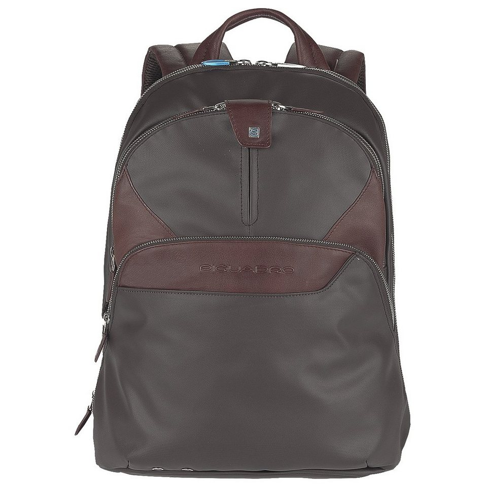 Piquadro Coleos Rucksack Leder 36 cm Laptopfach in dark brown
