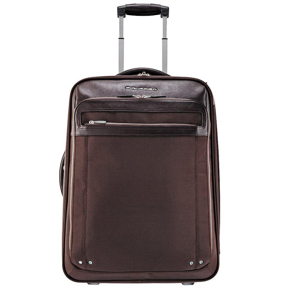 Piquadro Link 2-Rollen Kabinentrolley Leder 53 cm Laptopfach in dark brown