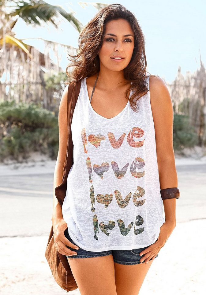 Beachtime Top mit Print in creme