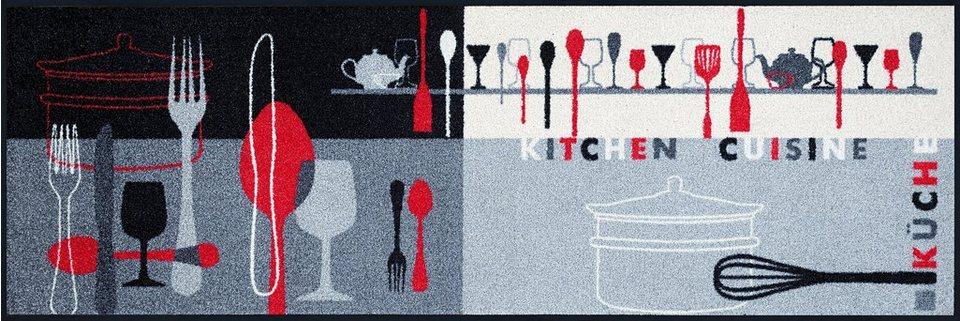 Läufer »Kitchen Crockery«, WASH + DRY BY KLEEN-TEX, rechteckig, Höhe 7 mm in grau-weiß