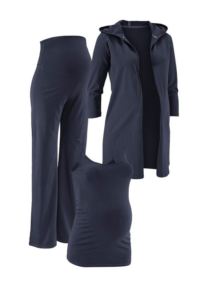 Neun Monate Umstands- Hose, Jacke & Top (Set, 3-tlg.) in blau