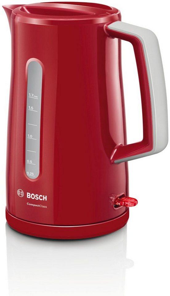 Bosch Wasserkocher »Compact Class TWK3A014«, 1,7 Liter, 2400 Watt in rot