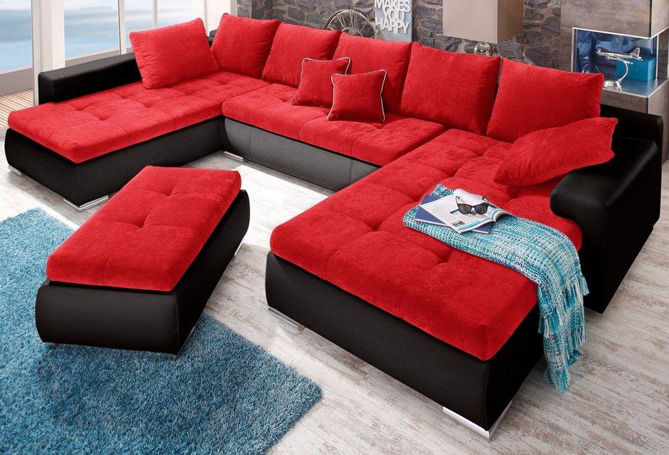 wohnlandschaft rot schwarz latribuna. Black Bedroom Furniture Sets. Home Design Ideas